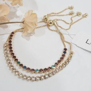 LOFT Linked Crystal Adjustable Bracelet Set of 2